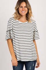 Black Striped Ruffle Sleeve Top
