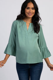 Sage Green Ruffle Sleeve Maternity Blouse