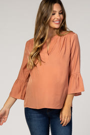 Peach Ruffle Sleeve Maternity Blouse