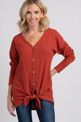 Rust Ribbed Knit Button Tie Front Top