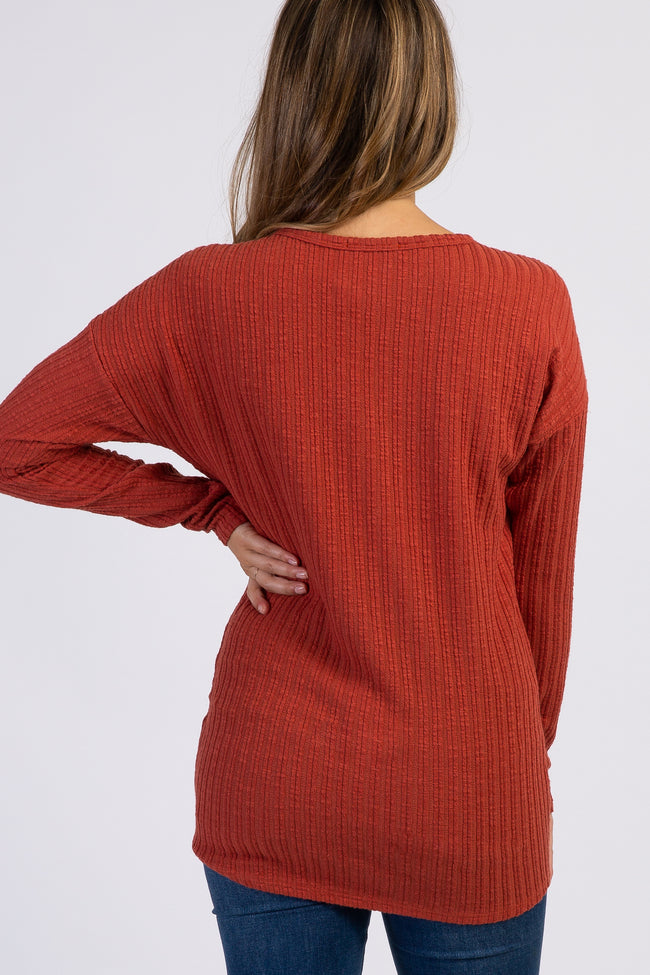 Rust Ribbed Knit Button Tie Front Maternity Top