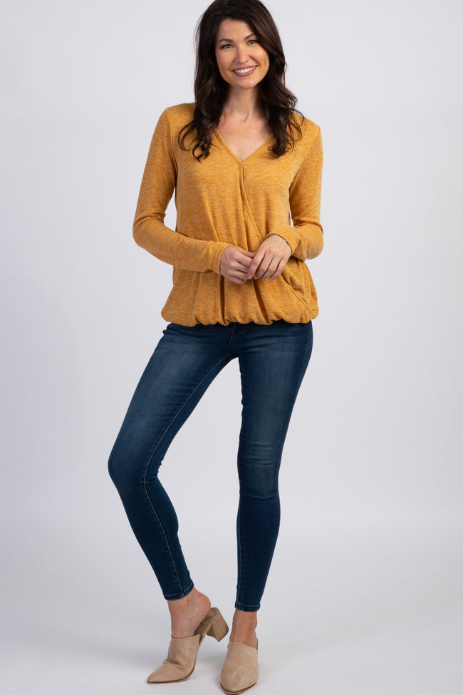 Mustard Two-Tone Long Sleeve Wrap Top