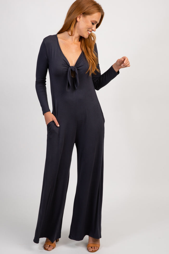 Charcoal Grey Solid Knot Front Jumpsuit