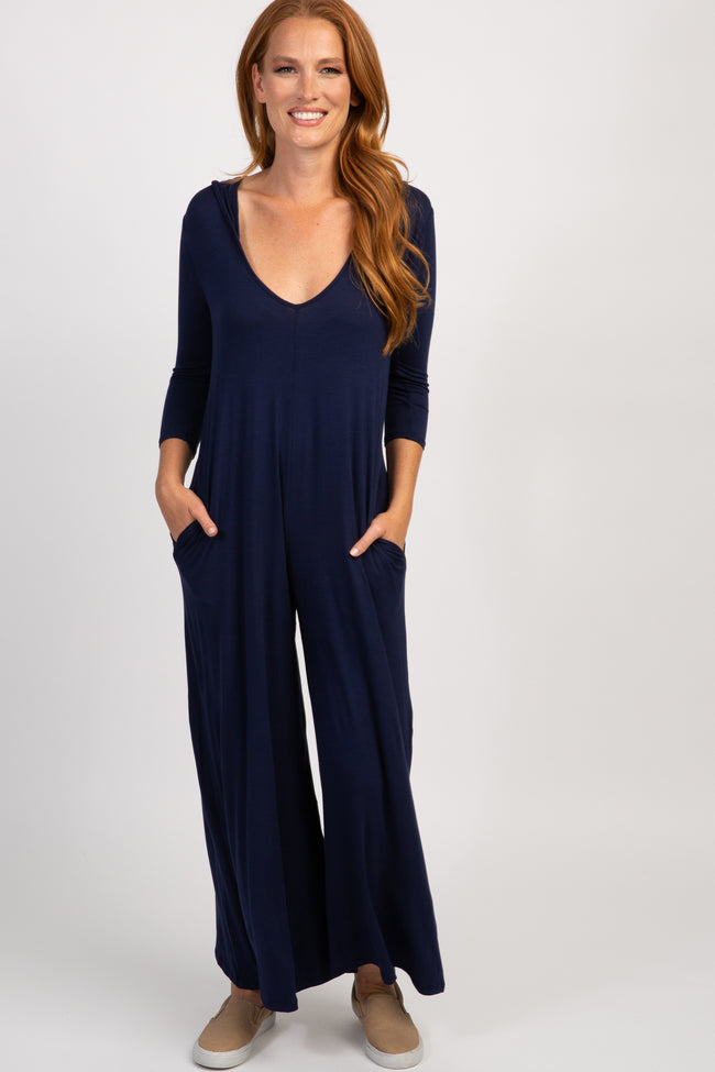 Navy Solid Wide-Leg Hooded Jumpsuit