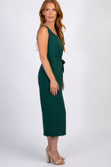 Forest Green Sleeveless Tie Jumpsuit