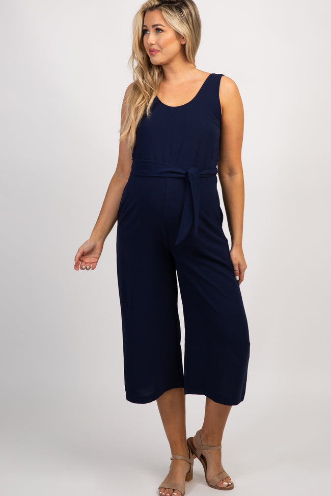 Navy Sleeveless Tie Maternity Jumpsuit