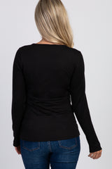 PinkBlush Black Ruched Long Sleeve Maternity Active Top