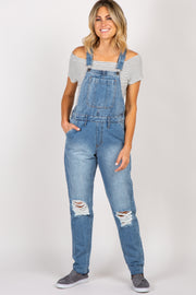 Waverleigh Blue Distressed Cuffed Denim Overalls