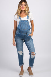Waverleigh Blue Distressed Cuffed Maternity Denim Overalls