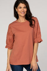 Rust Solid Crochet Sleeve Maternity Top