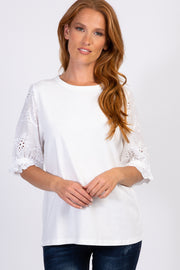 White Solid Crochet Sleeve Top