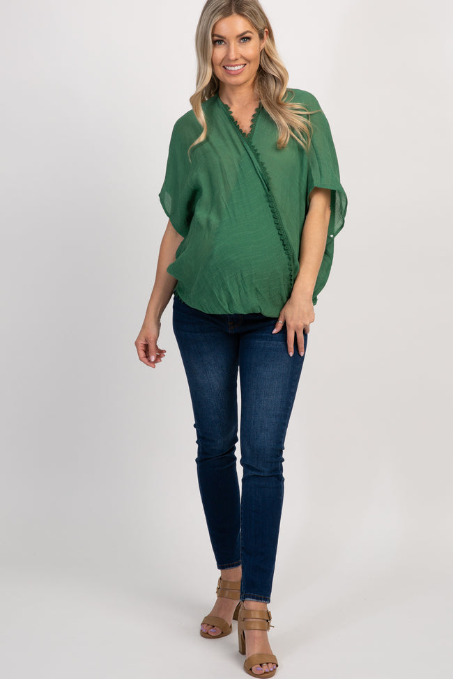 Green Draped Maternity Poncho Top