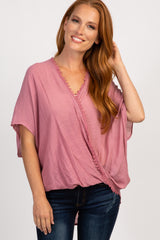 Mauve Draped Poncho Top
