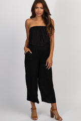 Black Strapless Cropped Maternity Jumpsuit