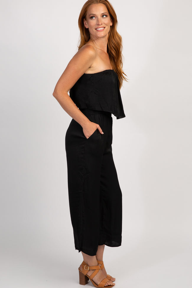 Black Off Shoulder Cropped Jumpsuit
