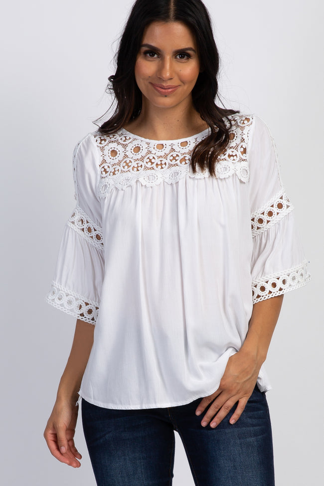 White Solid Floral Crochet Bell Sleeve Top
