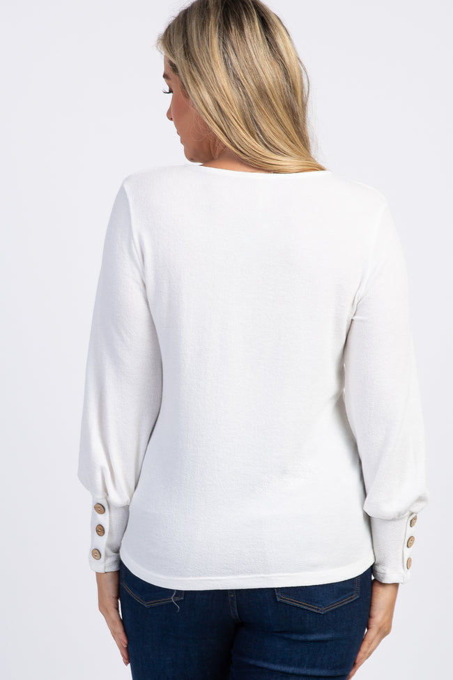Ivory Button Long Sleeve Top