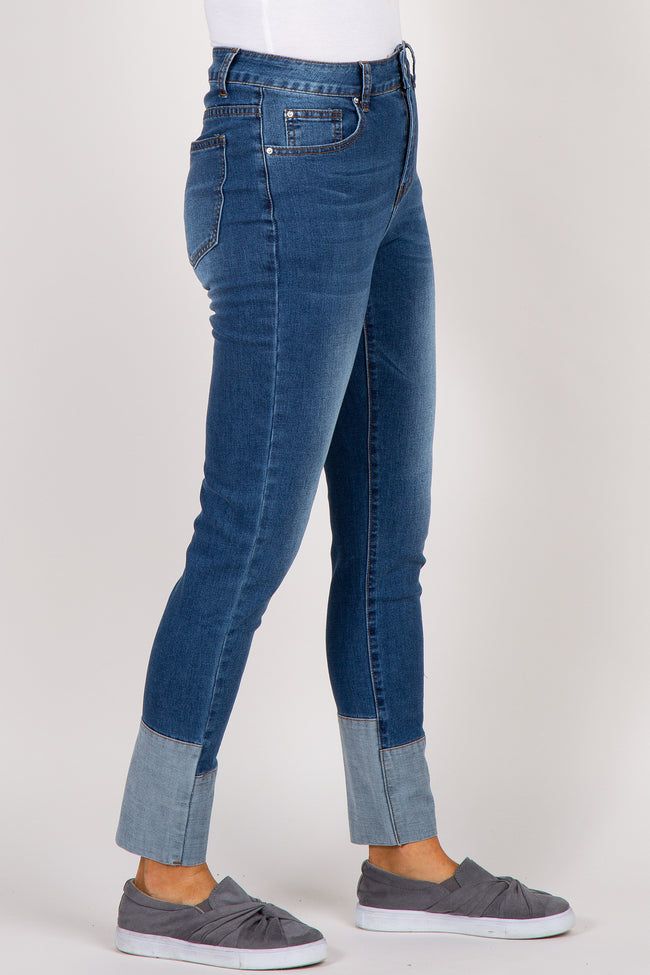 Navy Cuffed Ankle Accent Jeans