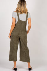 Olive Corduroy Wide Leg Overalls