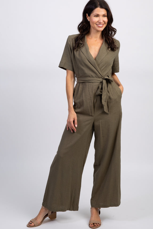 Olive Short Sleeve Collared Utility Maternity Jumpsuit