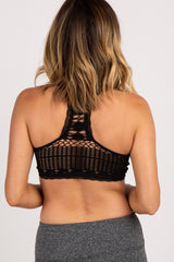 Black Lace Trim Seamless Bralette