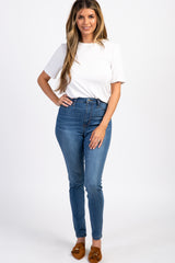 Navy Solid High-Rise Skinny Jeans