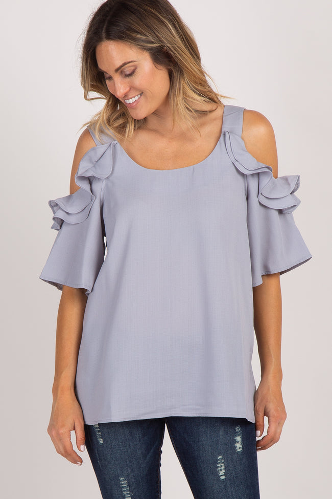 Grey Solid Ruffle Sleeve Cold Shoulder Maternity Blouse