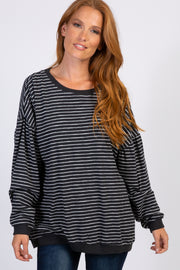 Charcoal Grey Striped Cuffed Sweater