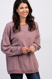 Mauve Striped Cuffed Sweater