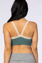 Green Ribbed Lace Trim Maternity Bralette