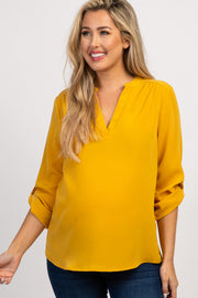 Mustard Solid V-Neck 3/4 Sleeve Maternity Top