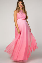 Pink Tulle Ombre Mesh Maternity Evening Gown