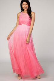 Pink Tulle Ombre Mesh Evening Gown