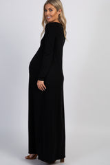 PinkBlush Black Button Front Maternity Maxi Dress