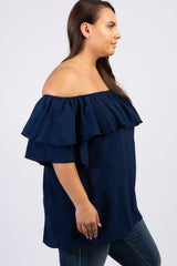 Navy Off Shoulder Ruffle Trim Plus Top