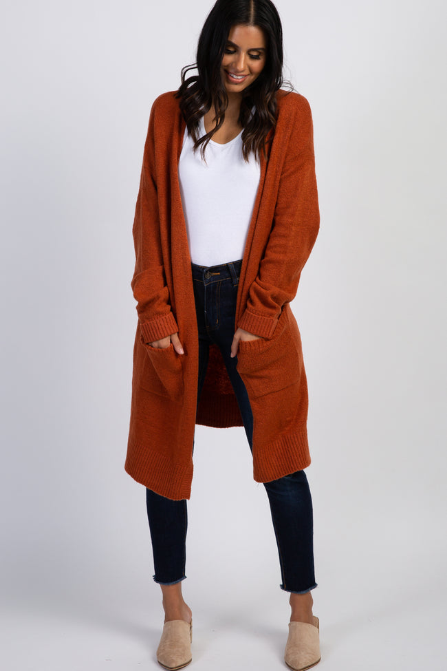 Rust Pocketed Long Sleeve Maternity Cardigan