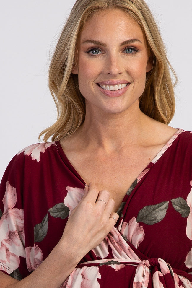 PinkBlush Burgundy Floral Dolman Sash Tie Maternity Wrap Dress