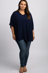 Navy V-neck Plus Tunic