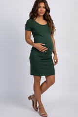 PinkBlush Green Basic Ruched Fitted Maternity Dress