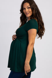 Forest Green Draped Front Maternity/Nursing Top