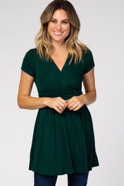 Forest Green Draped Front Nursing Top