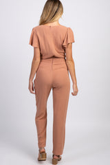 Peach Ruffle Sleeve Smocked Waist Maternity Jumpsuit