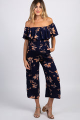 Navy Floral Off Shoulder Maternity Jumpsuit