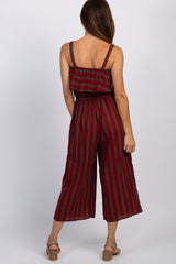 Red Striped Ruffle Trim Maternity Jumpsuit