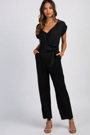 Black Short Sleeve Wrap Top Maternity Jumpsuit