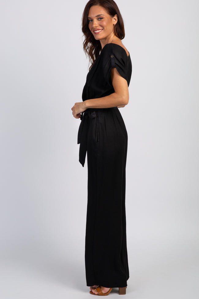 Black Short Sleeve Wrap Top Jumpsuit