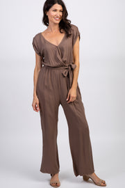 Mocha Short Sleeve Wrap Jumpsuit