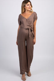 Mocha Short Sleeve Wrap Maternity Jumpsuit