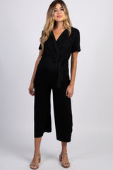 Black Collared Wide Leg Maternity Jumpsuit
