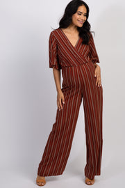 Rust Striped Short Bell Sleeve Maternity Wrap Jumpsuit